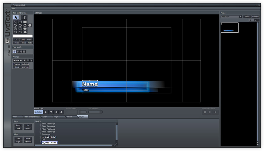 Layer names in NewTek's LiveText software