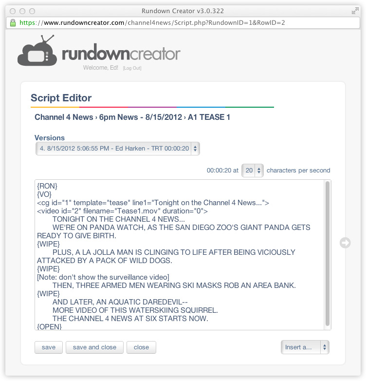Example TV news script in the Rundown Creator Script Editor