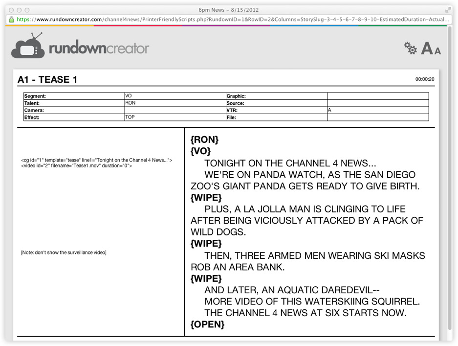 Printing Rundowns And Scripts Rundown Creator Web