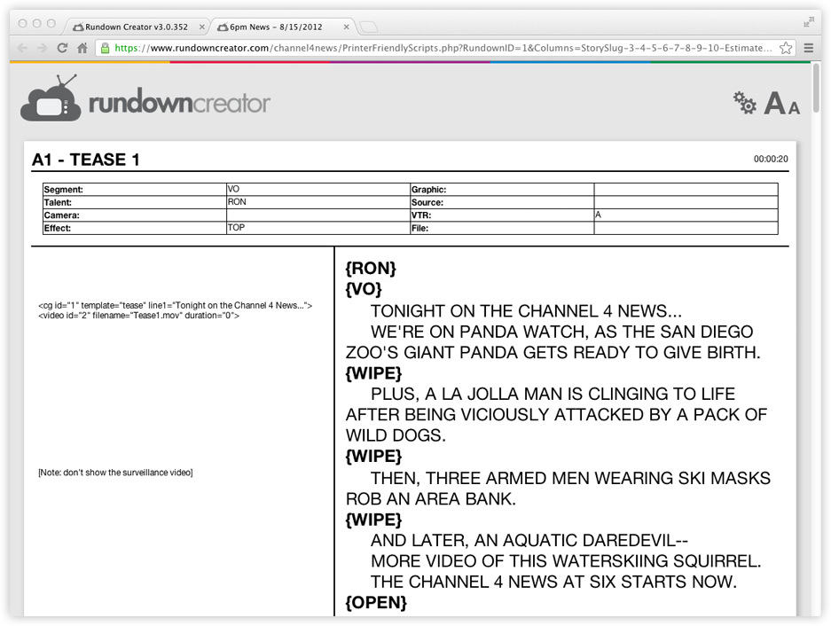 Printer friendly TV/radio scripts
