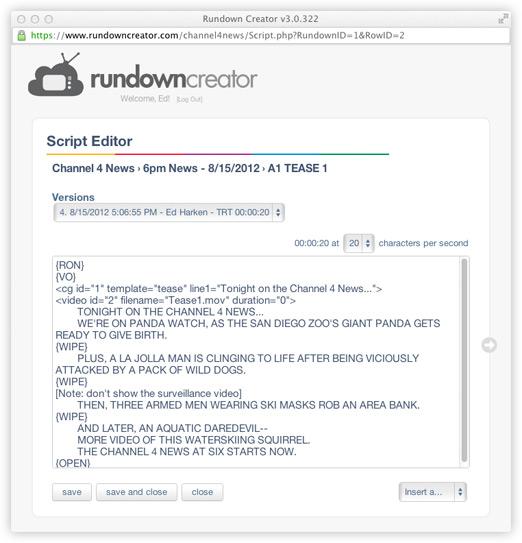 Features   Rundown Creator   web-based TV/radio rundown software